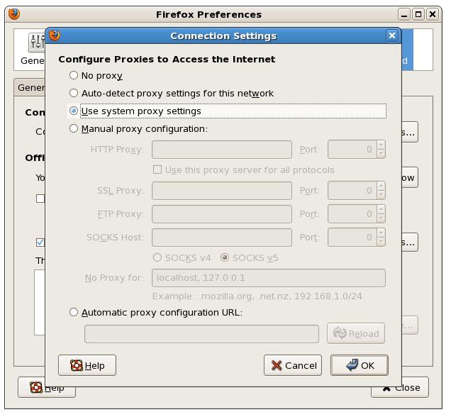 Firefox Proxy Settings Dialog