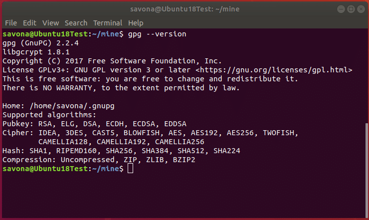 Screenshot showing output of gpg version command and list of supported ciphers.