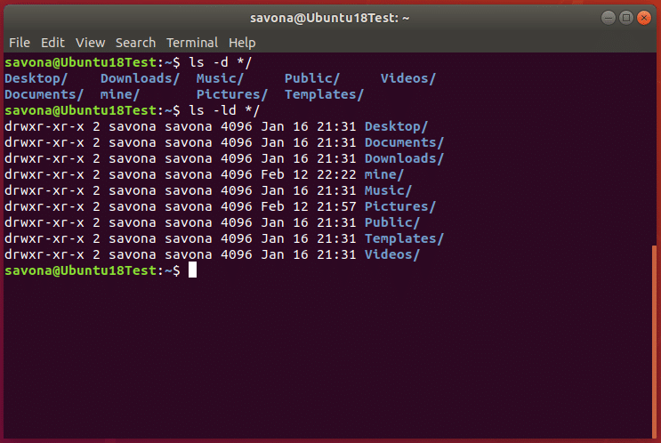 Screenshot of terminal showing the output of ls command using -d switch. Listing only directories.