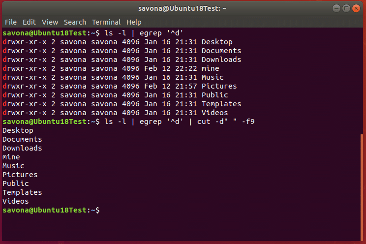 Screenshot of terminal showing output of ls command using grep to show only directories. ls -l | egrep '^d'.