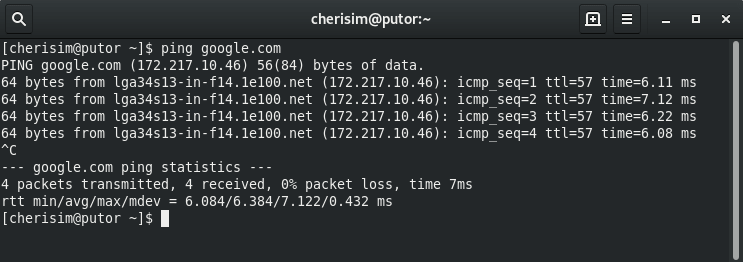 Screenshot of the Linux ping command successfully pinging google.com