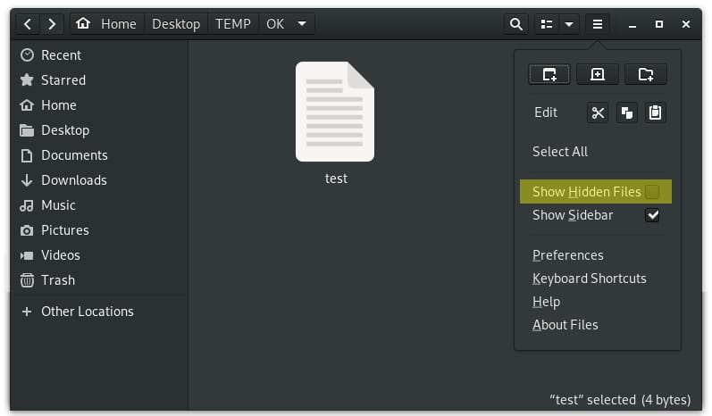 Show hidden files in Gnome file manager in Linux