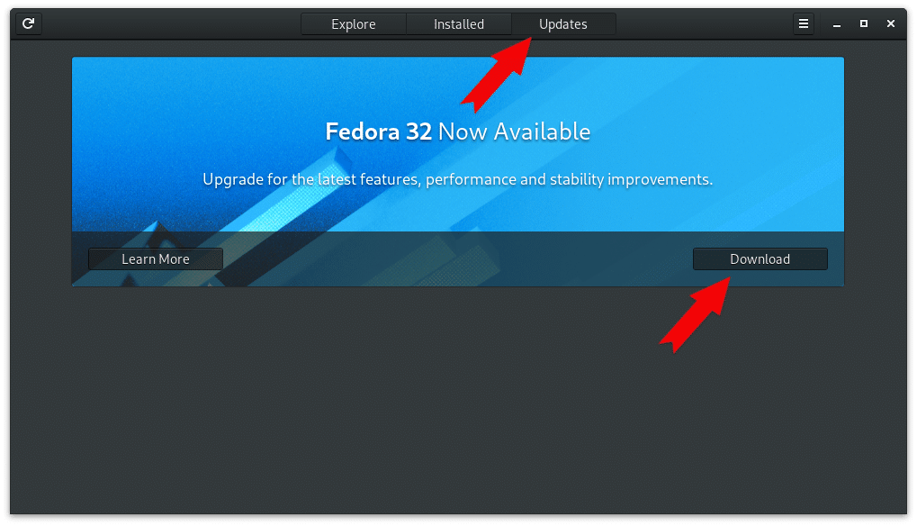 Upgrade Fedora via Software Center