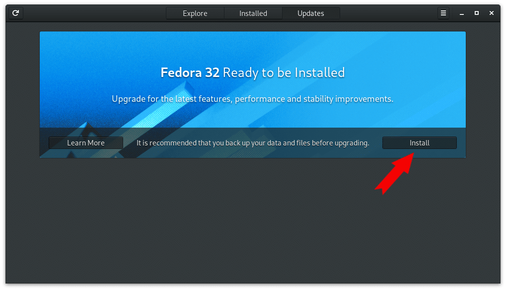 Upgrade Fedora via GUI